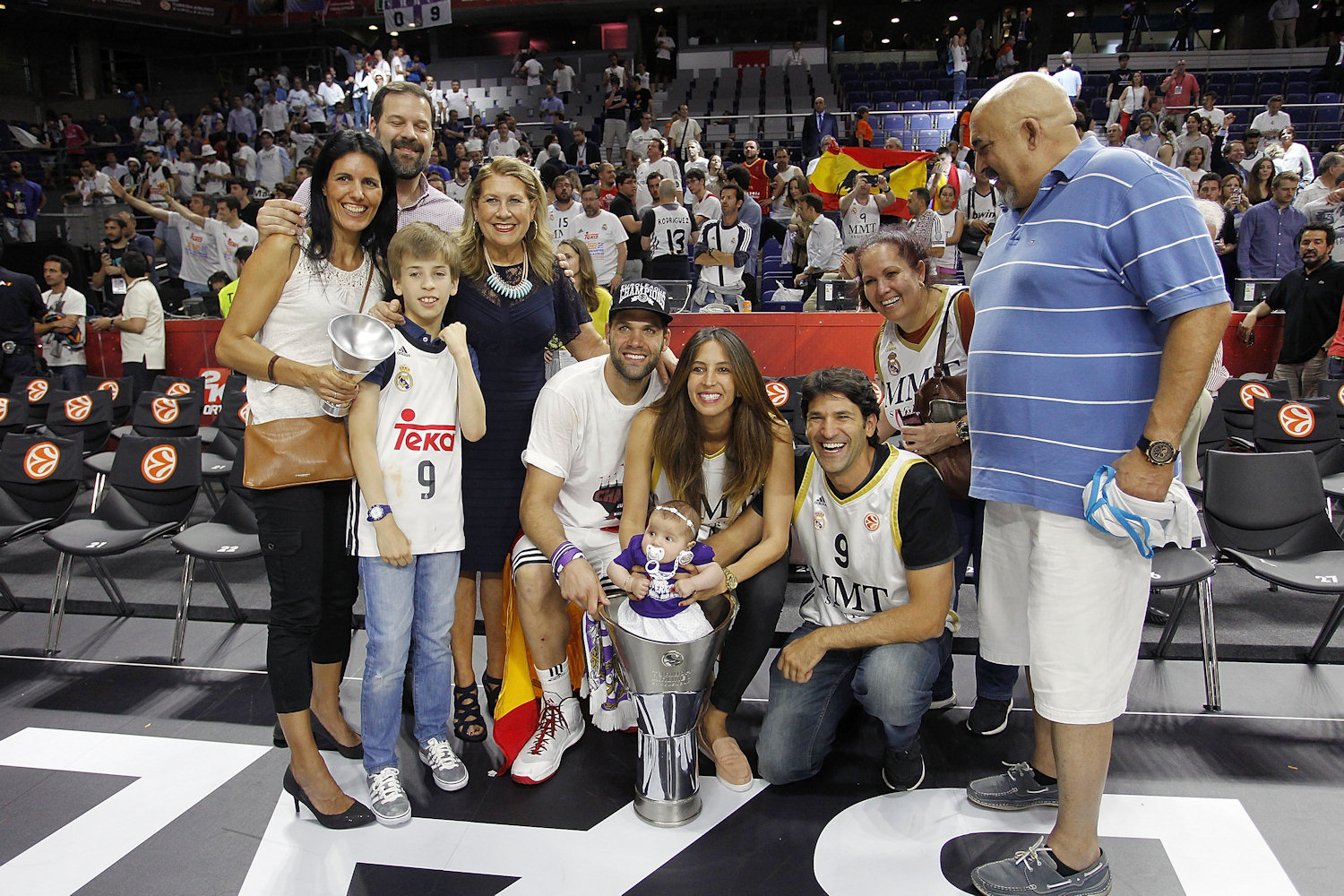 Felipe Reyes, celebrates with family - Real Madrid is the new champ Euroleague 2014-15 - Final Four Madrid 2015 - EB14