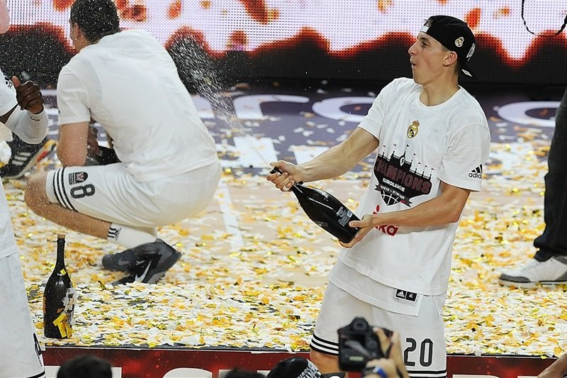 Jaycee Carroll, who gave Madrid a huge third-quarter push, sprays champagne.
