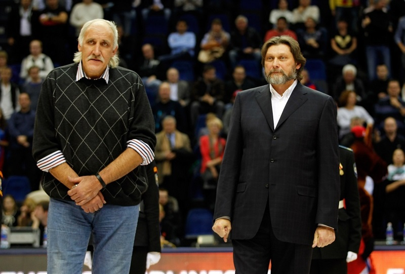 Vladimir Tkachenko and Andrei Lopatov during the honor ceremony - CSKA Moscow - EB14