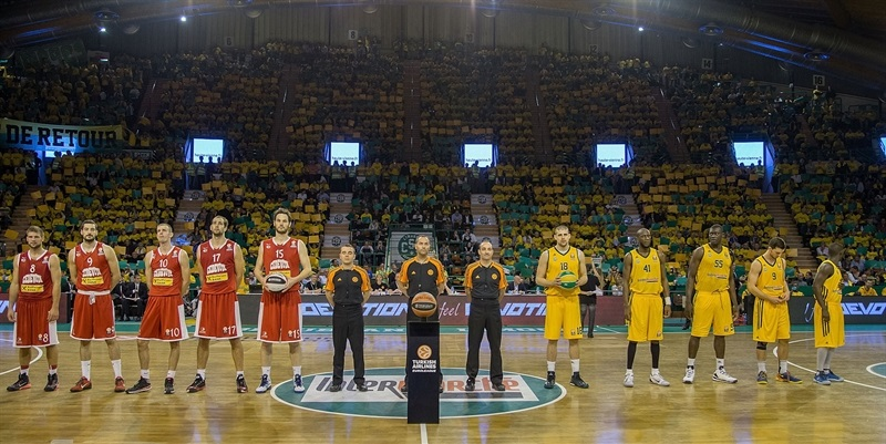 Ceremony of intercharge of balls - Limoges CSP vs. Cedevita Zagreb - EB14