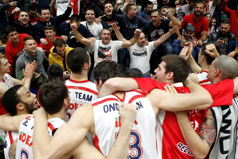 Crvena Zvezda Telekom Belgrade celebrates with fans - One Team - EB14