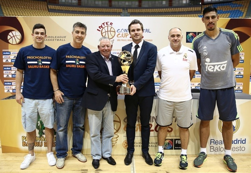 Ricardo Fisher, Guerrinha, Alberto García, Alex Ferrer, Pabo Laso and Gustavo Ayon - Press Conference- Intercontinental Cup 2015 - EB15 (photo FIBA)