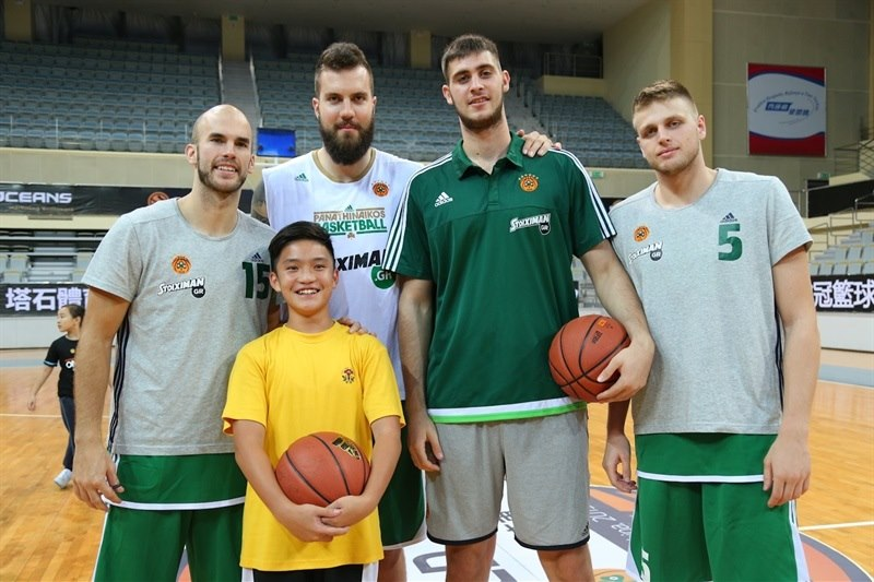 Calathes, Raduljica, Bochoridis and Charalampoulos of Panathinaikos - One Team activity  at Chinese school in Macao - World Tour 2015 - EB15