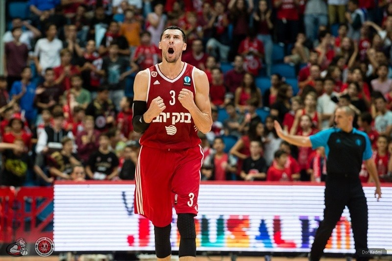 Tony Gaffney celebrates - Hapoel Bank Yahav Jerusalem - EC15 (photo Hapoel Jerusalem - Dor Ketmi)