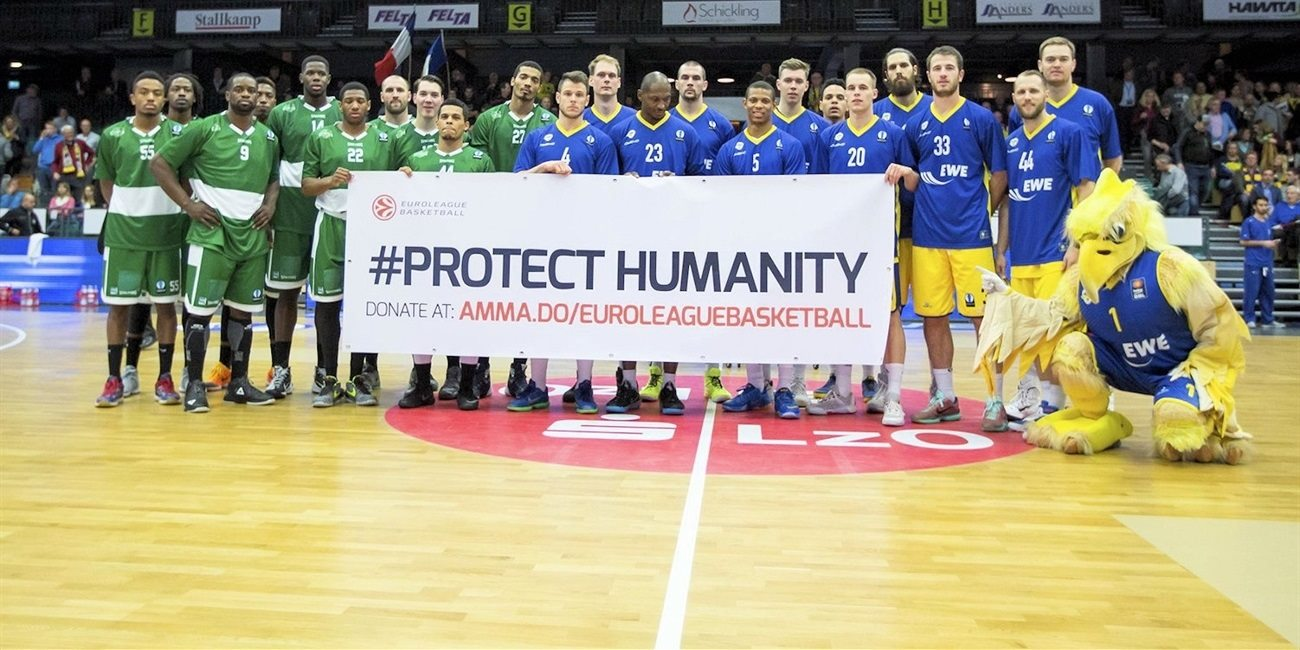 Protect Humanity - EWE Baskets Oldenburg vs. JSF Nanterre - EC15 (photo EWE - Ulf Duda-fotoduda.de)