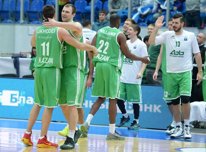 Players Unics Kazan celebrates - EC15 (photo Nizhny Novgorod)