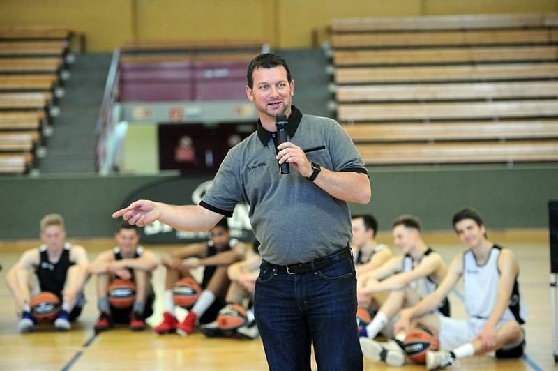 Tad Reilly, Vice President, Spalding International during Coaches Clinic at Sporthalle Schoeneberg - Final Four Berlin 2016 - EB15