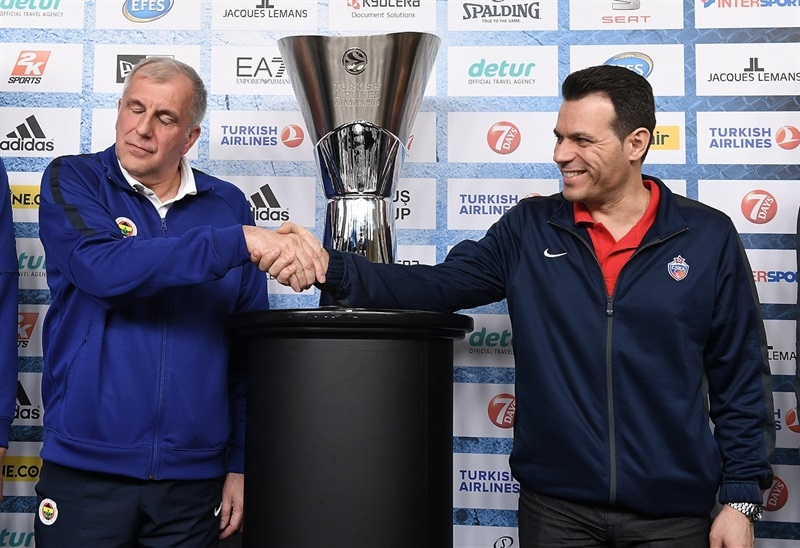 Zeljko Obradovic and Dimitris Itoudis - Championship game press conference - Final Four Berlin 2016 - EB15