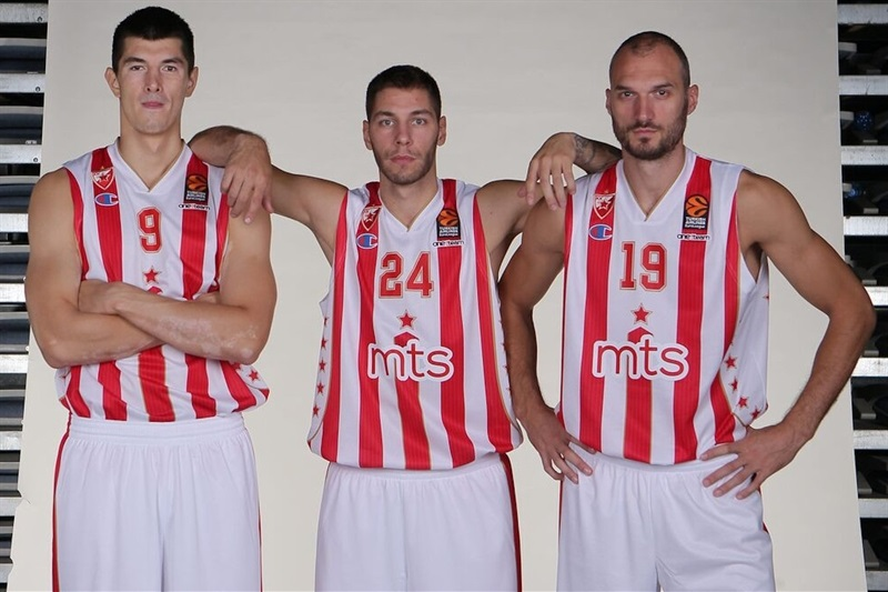Luka Mitrovic, Stefan Jovic and Marko Simonovic - Crvena Zvezda mts Belgrade - Media Day 2016 - EB16