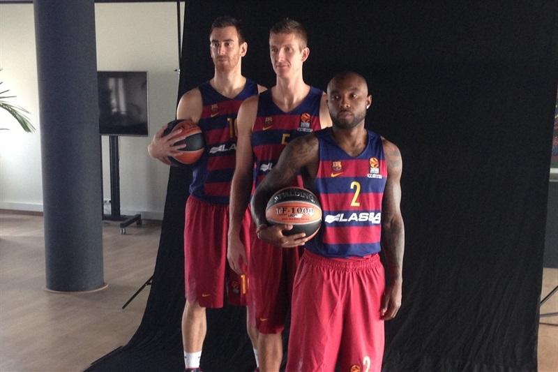 Victor Claver, Justin Doellman and Tyrese Rice - FC Barcelona Lassa - Media Day 2016 - EB16