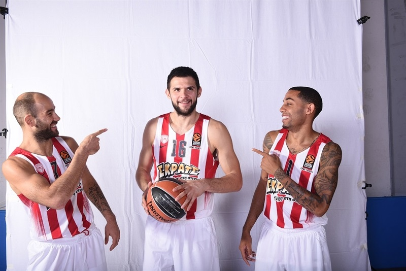 Vassilis Spanoulis, Kostas Papanikolaou and Erick Green - Olympiacos Piraeus - Media Day 2016 - EB16 (photo Olympiacos)