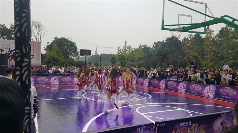 Cheerleaders Crvena Zvezda in action - Fanzone of Chengdu - China Tour 2016 - EB16