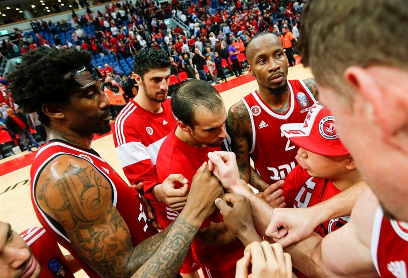 Players Hapoel Bank Yahav Jerusalem celebrates - EC16 (photo Hapoel Jerusalem - Oren Ben Haccoun)