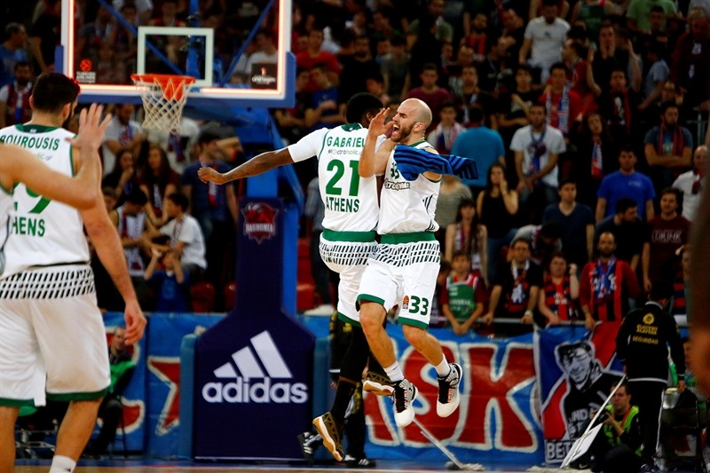 Nick Calathes celebrates - Panathinaikos Superfoods Athens - EB16