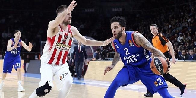 Regular Season Round 29: Efes stops Olympiacos for eightth win in nine games