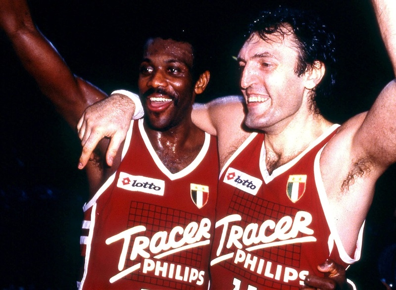 Bob McAdoo and Dino Meneghin - Tracer Olimpia Milano - EuroLeague archive