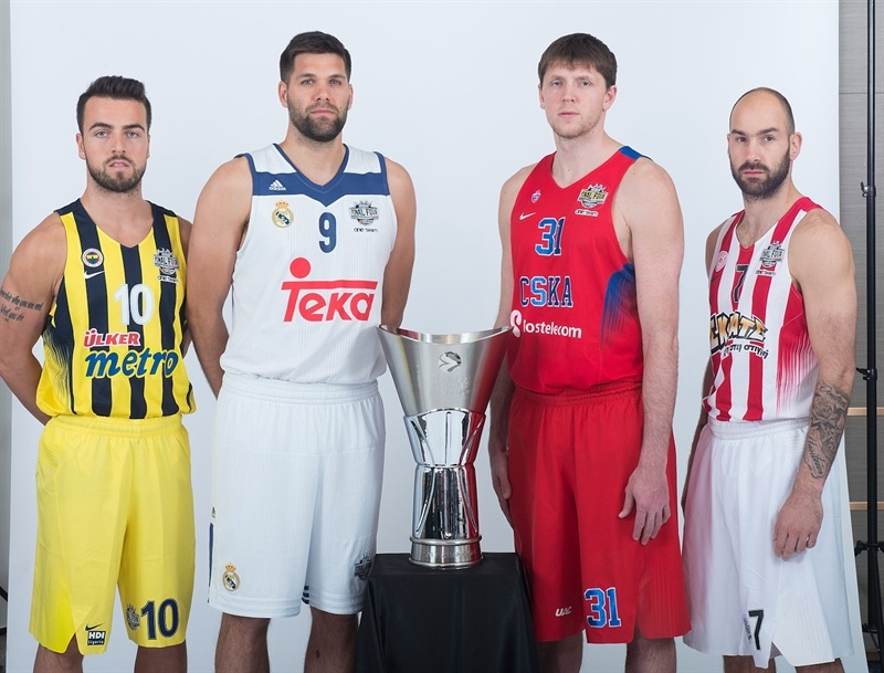 Melih Mahmutoglu, Felipe Reyes Victor Khryapa and Vassilis Spanoulis - Teams Captains Photo Opportunity - Final Four Istanbul 2017