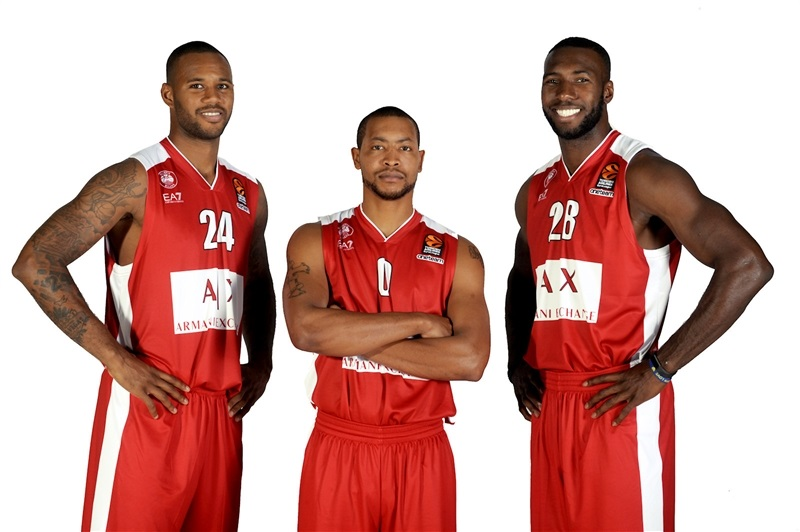 Mbaye, Goudelock and Young - AX Armani Exchange Olimpia Milan Media Day 2017 - EB17