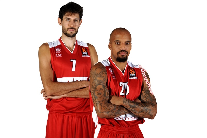 Davide Pascolo and Jordan Theodore - AX Armani Exchange Olimpia Milan Media Day 2017 - EB17
