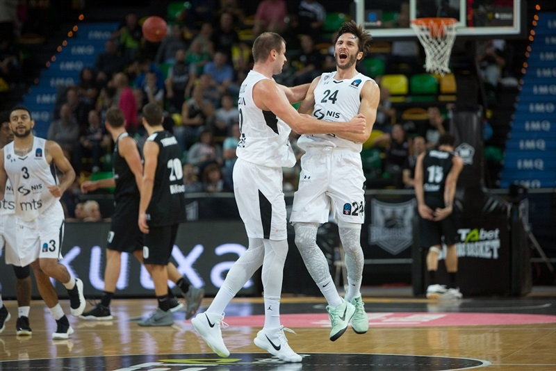Marko Cakarevic celebrates - Partizan NIS Belgrade (photo Bilbao) - EC17