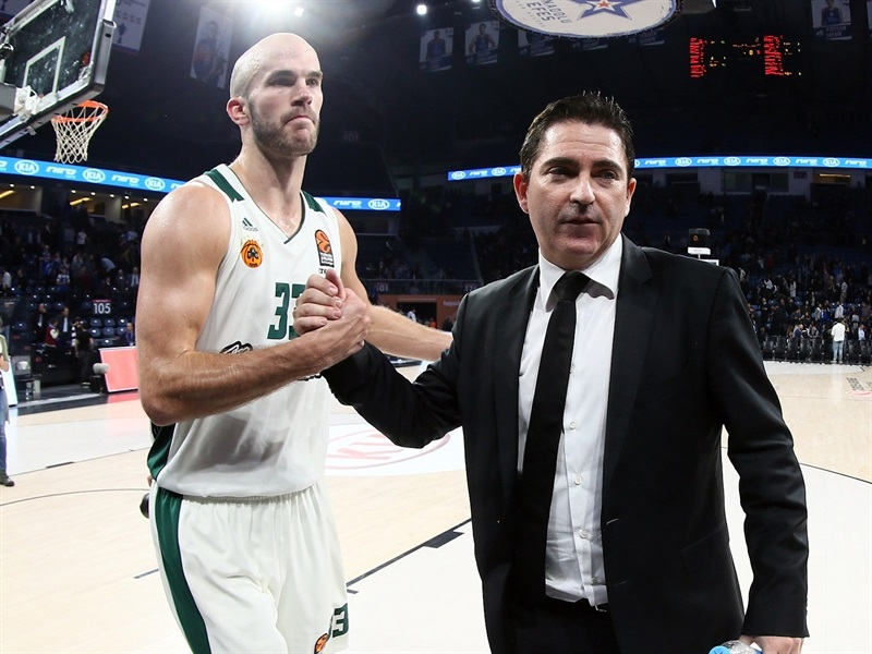 Nick Calathes and Xavi Pascual celebrates - Panathinaikos Superfoods Athens - EB17