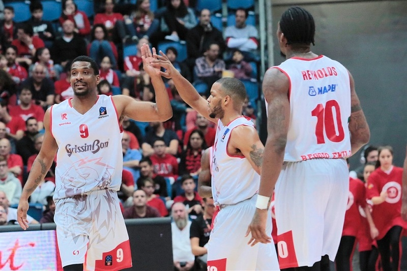 James White celebrates - Grissin Bon Reggio Emilia (photo Hapoel) - EC17