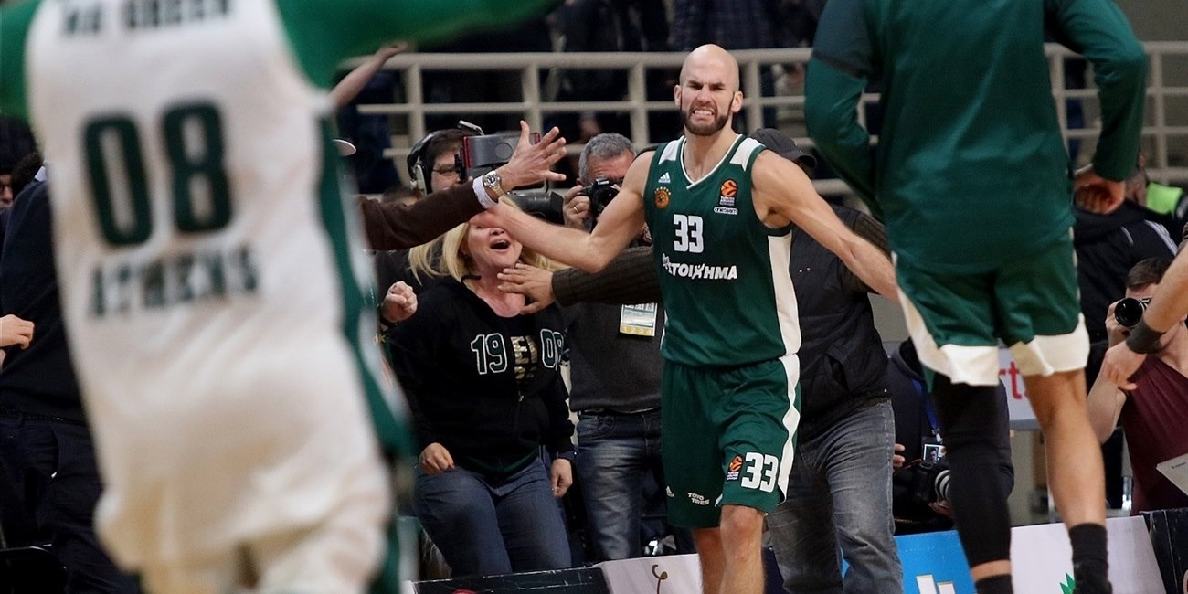 Nick Calathes celebrates - Panathinaikos Superfoods Athens - EB17