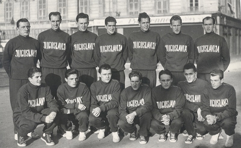 The Yugoslav NT in Nice, France in 1950. The only photo in existence with the Four Saints.