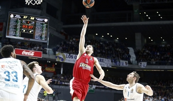RS Round 22 report: Late heroics by Strelnieks lift Olympiacos in Madrid