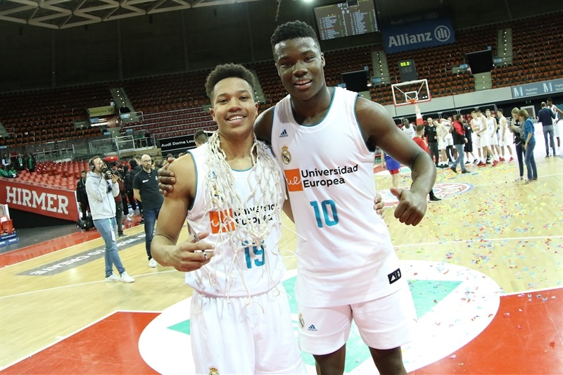 Melwin Pantzar and Golden Dike celebrates - U18 Real Madrid - ANGT Munich 2018 (photo Matthias Stickel - FCBB) JT17