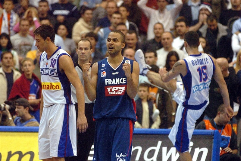 Tony Parker and France eliminated Serbia and Montenegro in 2005
