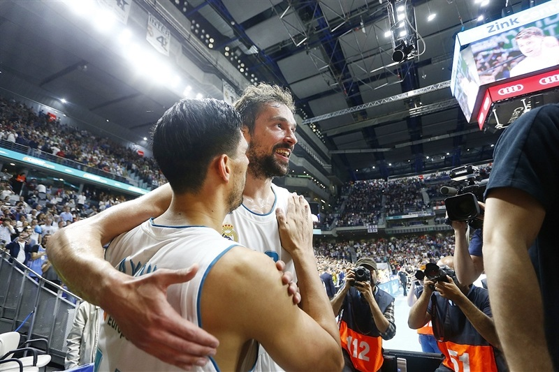 Sergio Llull and Gustavo Ayon celebrates - Real Madrid - EB17