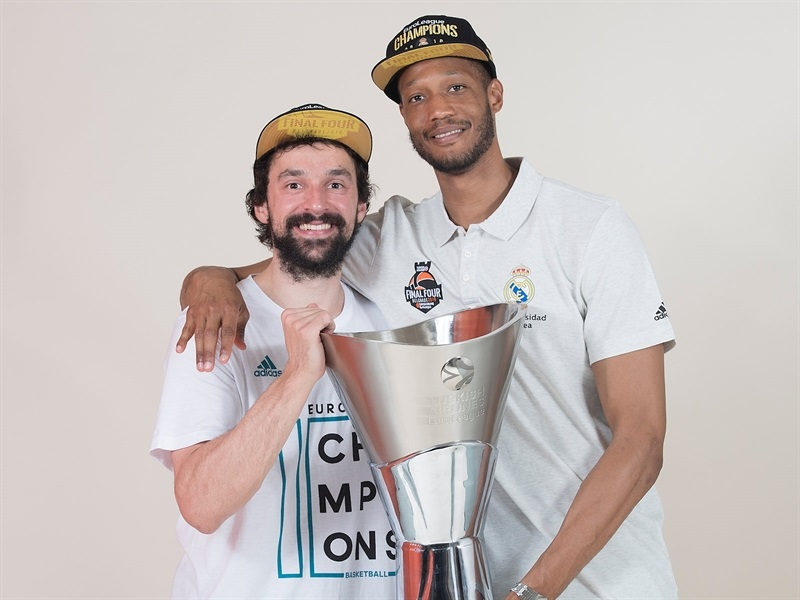 Sergio Llull and Anthony Randolph - Real Madrid  trophy photo shoot - Belgrade 2018 - EB17
