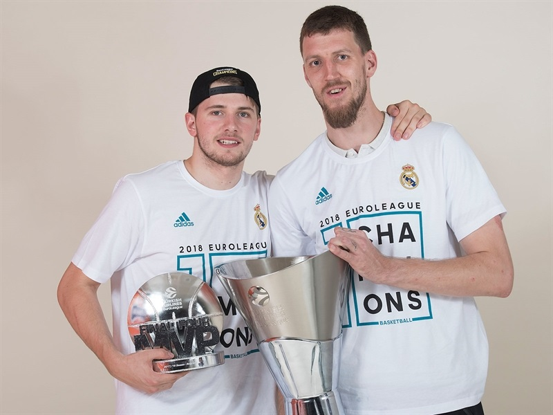 Luka Doncic and Ognjen Kuzmic - Real Madrid  trophy photo shoot - Belgrade 2018 - EB17