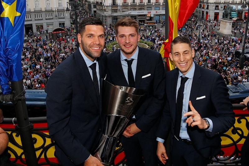Reyes, Doncic and Carroll - Real Madrid celebrates champ in Madrid - Belgrade 2018 (photo Real Madrid)