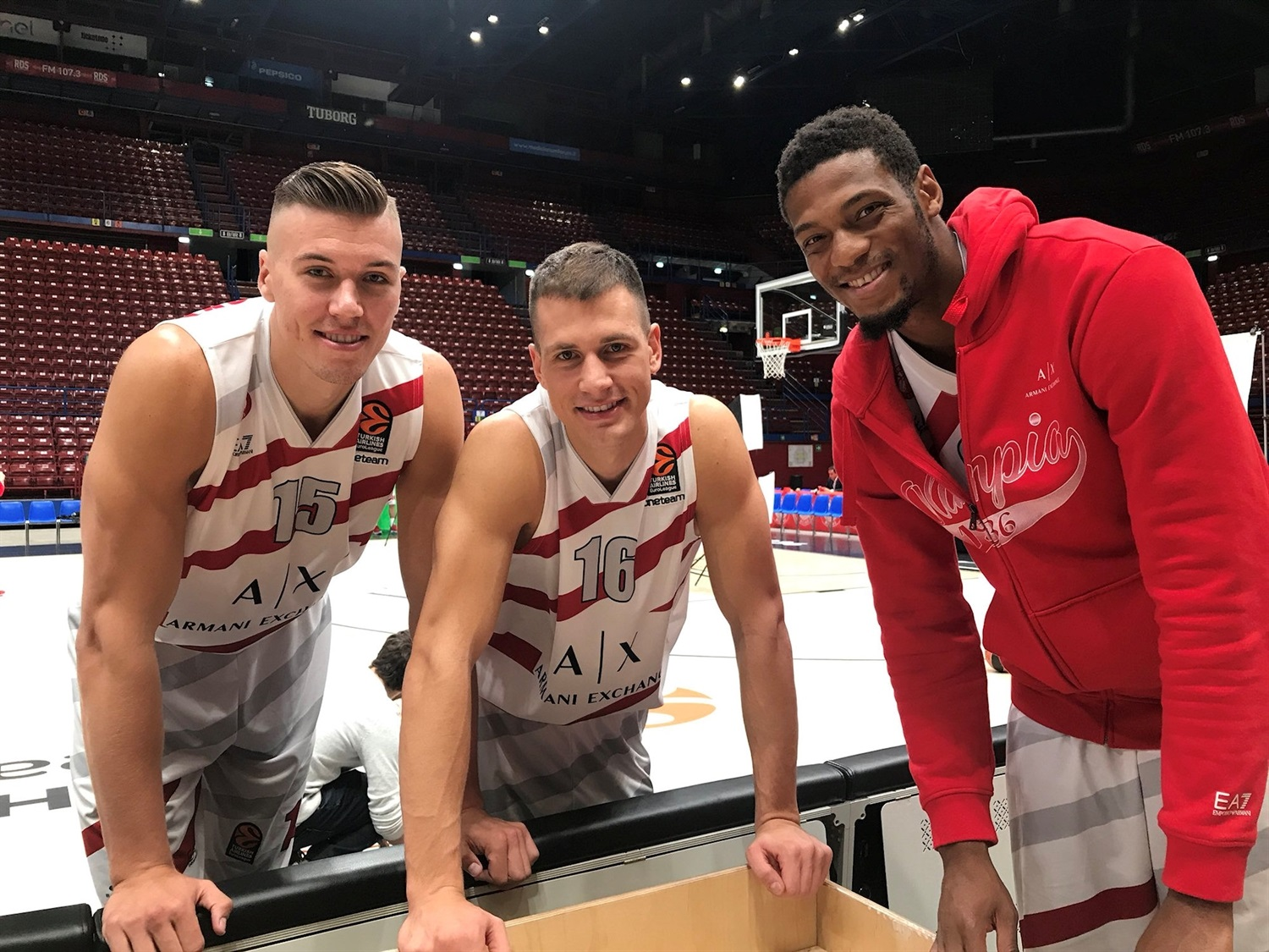 Tarczeski, Nedovic and Brooks - AX Armani Exchange Olimpia Milan Media Day 2018 - EB18