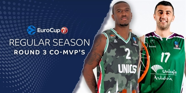 Round 3 co-MVPs: Raymar Morgan, UNICS  and Giorgi Shermadini, Unicaja