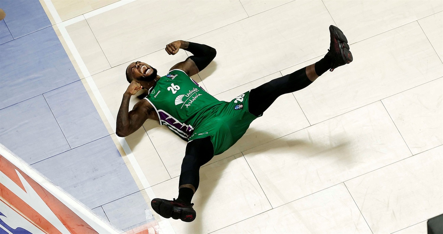 Mathias Lessort celebrates - Unicaja Malaga (photo Unicaja) - EC18
