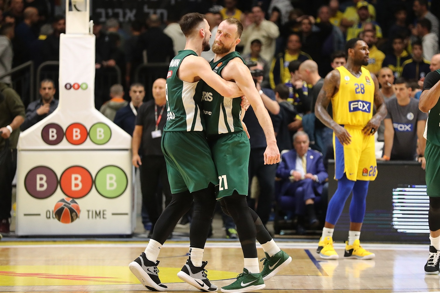 Leo Westermann and Arturas Milaknis celebrates - Zalgiris Kaunas - EB18
