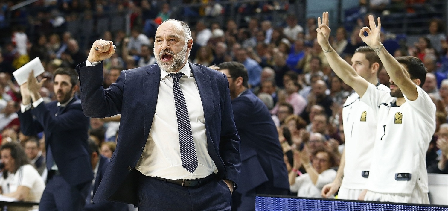Pablo Laso celebrates - Real Madrid - EB18
