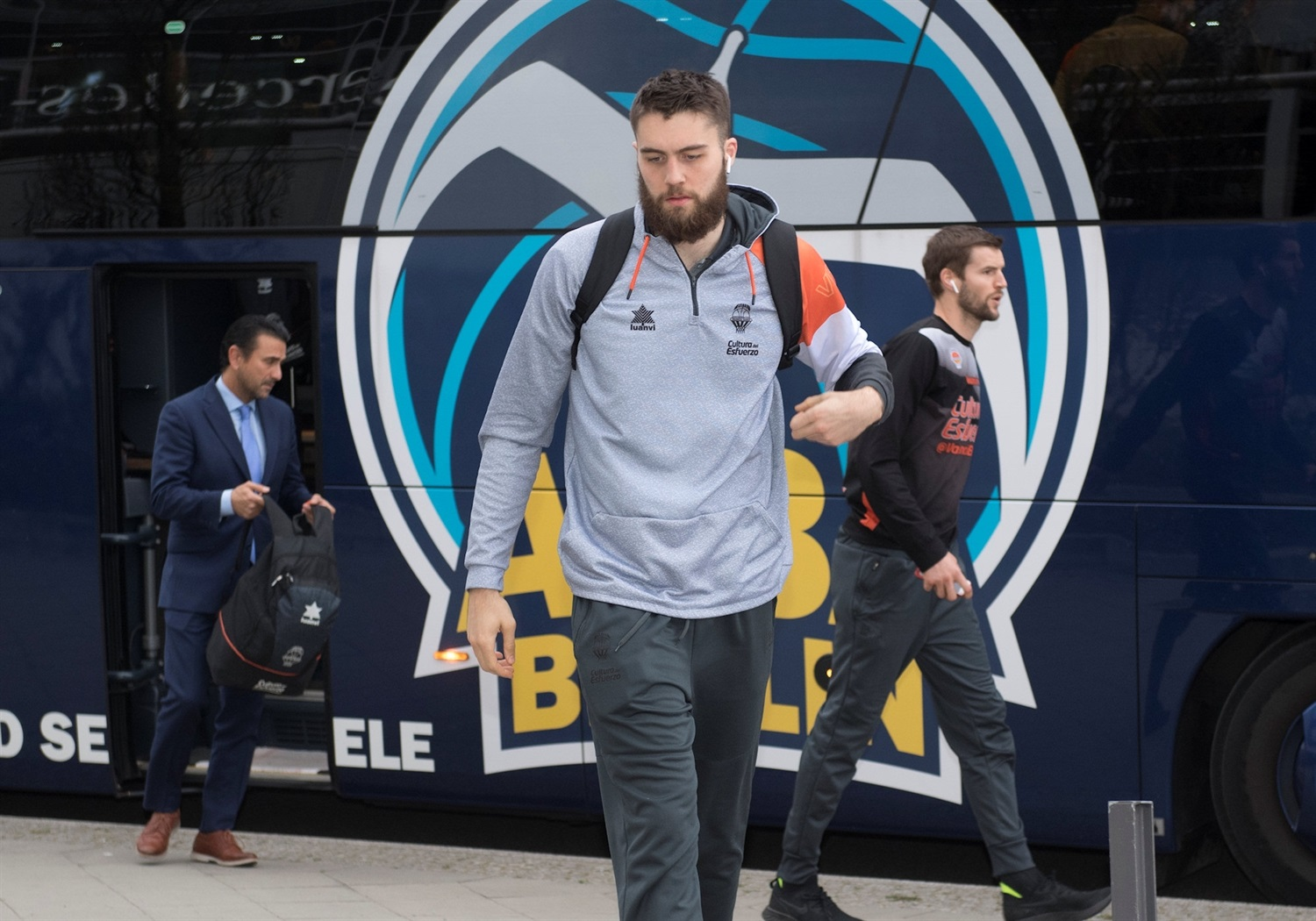 Mike Tobey - Valencia Basket arrival Mercedes-Benz Arena - Finals Game 2 - EC18