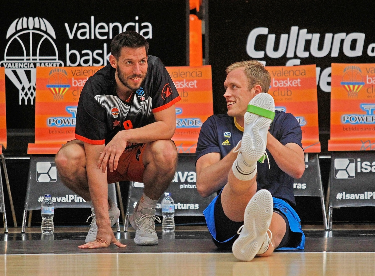 Sam Van Rossom and Luke Sikma - Valencia vs. ALBA in pregame - EuroCup Finals Game 3 - EC18