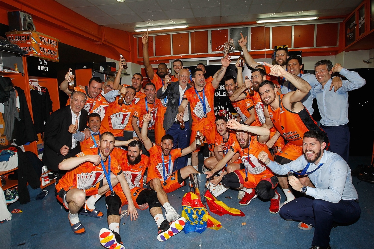 Locker room celebrations - Valencia Basket champ - EuroCup Finals Game 3 - EC18