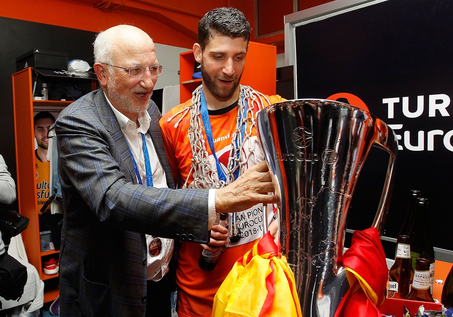 Joan Roig and Antoine Diot - Valencia Basket champ - EuroCup Finals Game 3 - EC18