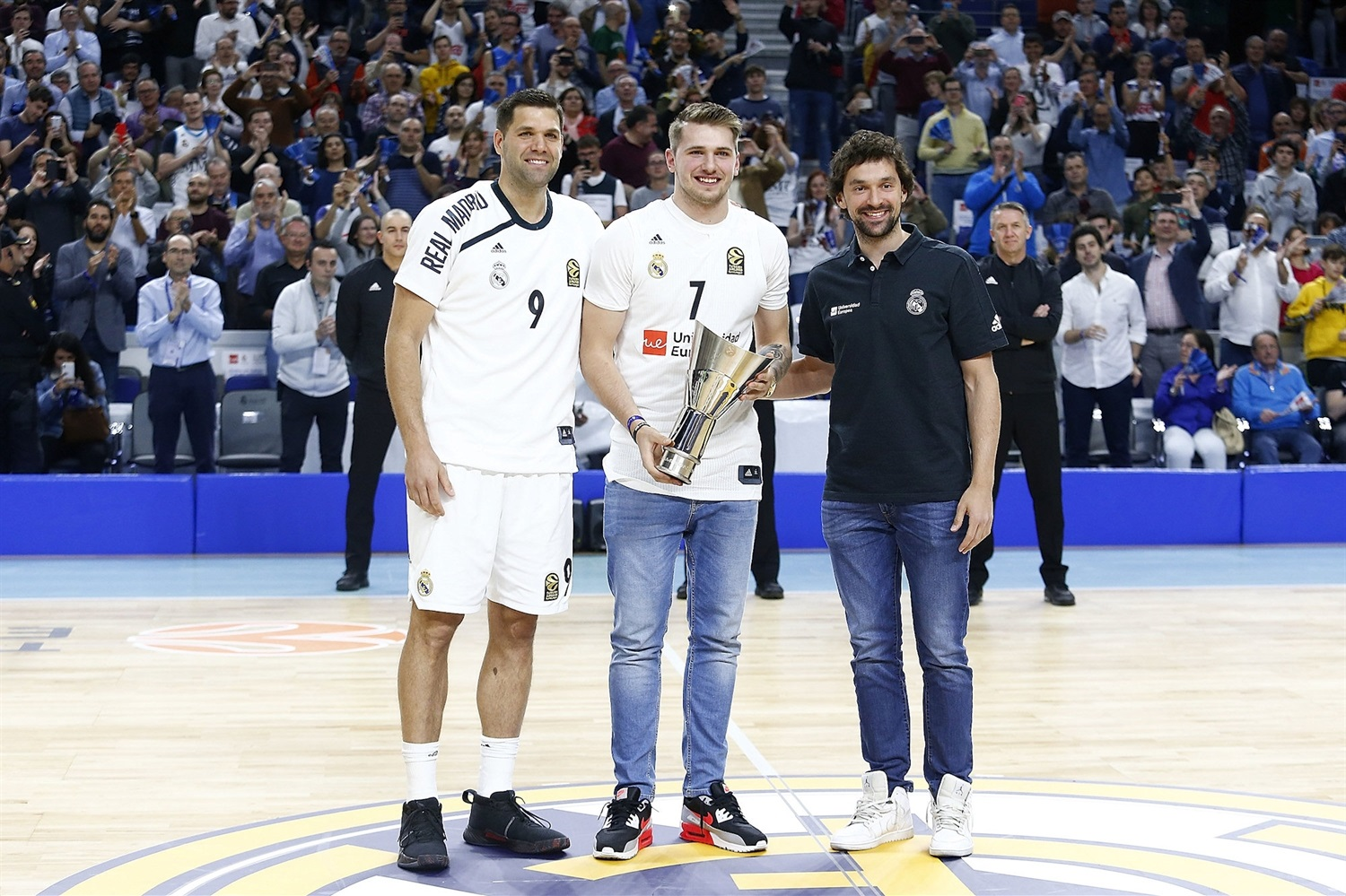 Luka Doncic with Reyes and Llull - Real Madrid - EB18