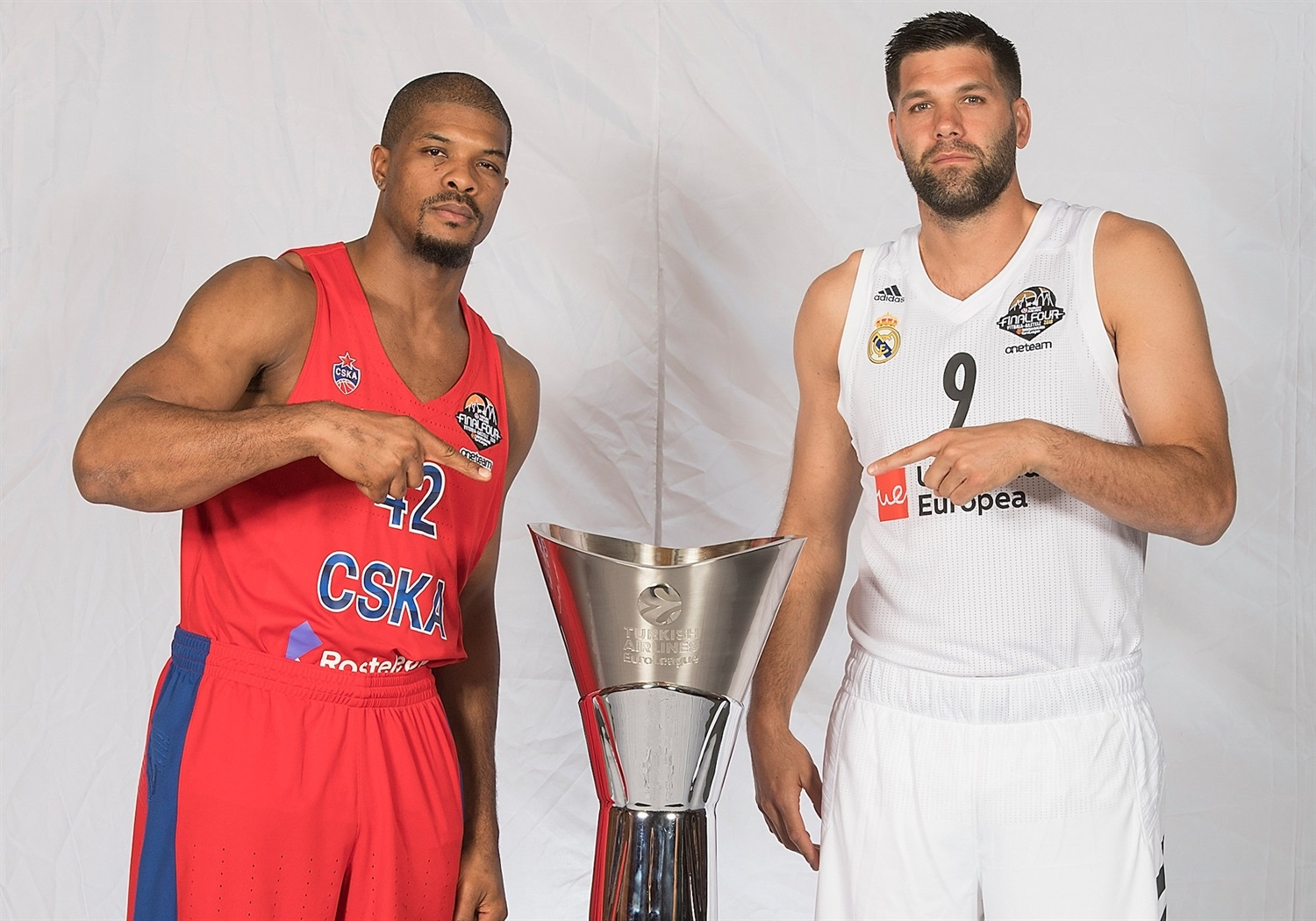 Kyle Hines and Felipe Reyes - Teams Captains Photo Session - Final Four Vitoria-Gasteiz 2019 - EB18