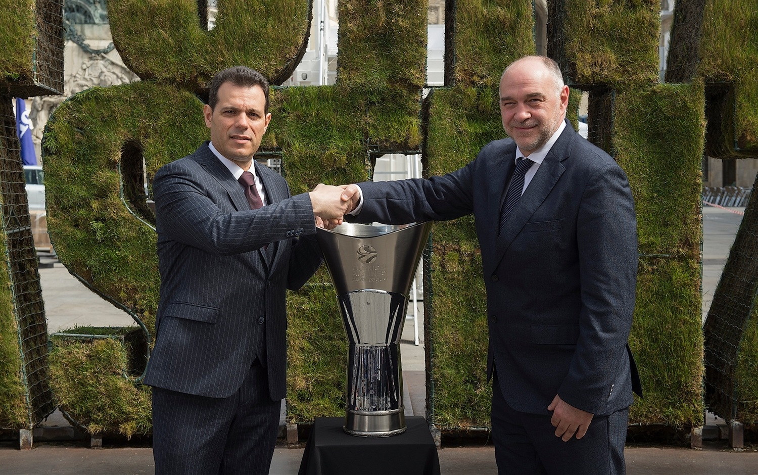 Dimitris Itoudis and Pablo Laso - Opening Press Conference - Final Four Vitoria-Gasteiz 2019 - EB18