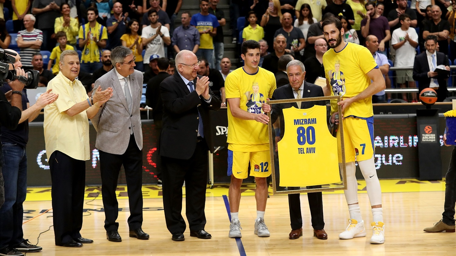 On-court celebration for Maccabi President Shimon Mizrahi - Maccabi FOX Tel Aviv - EB19