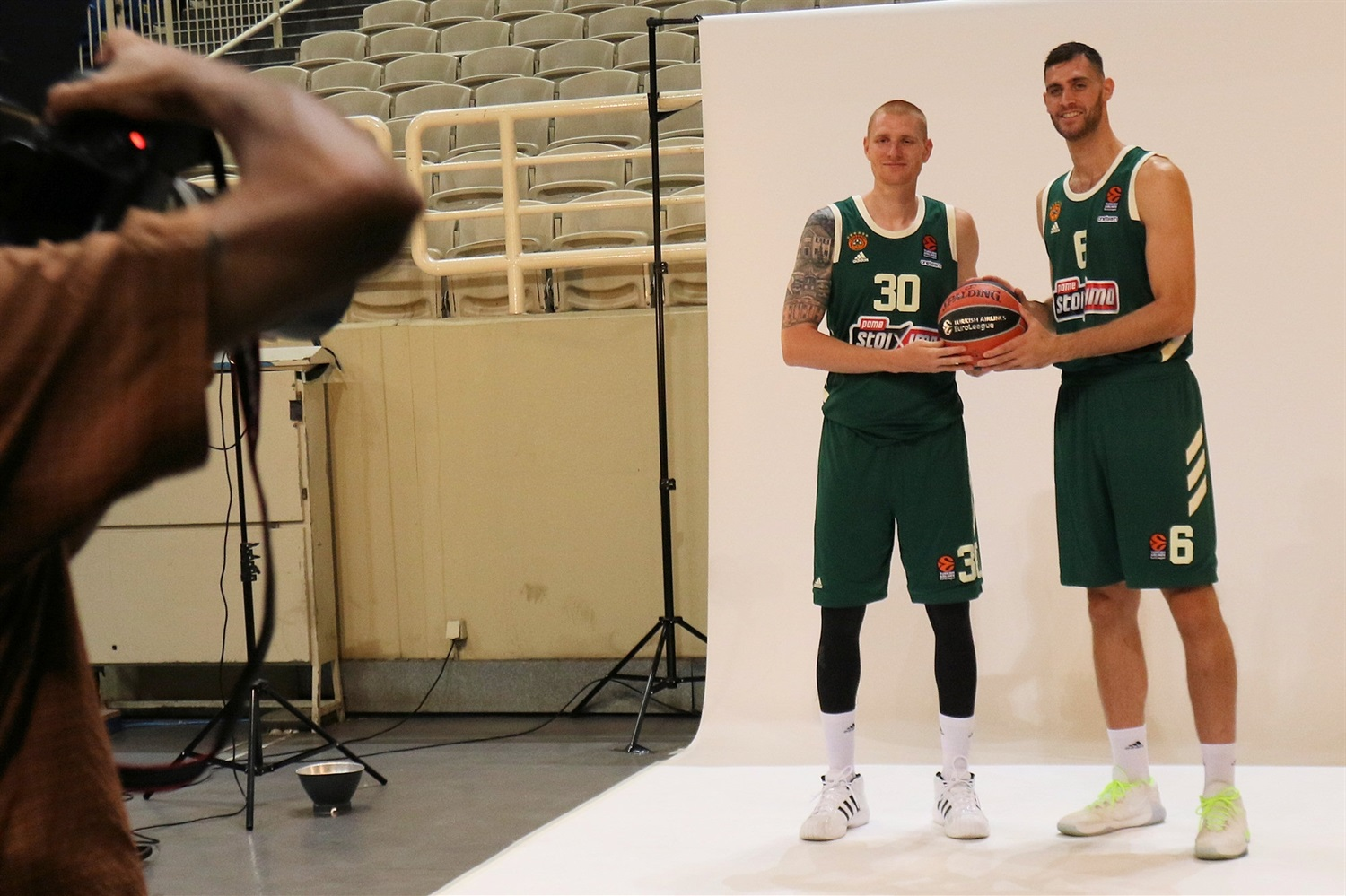 Aaron White and Georgios Papagiannis - Panathinaikos OPAP Athens Media Day 2020 - EB20