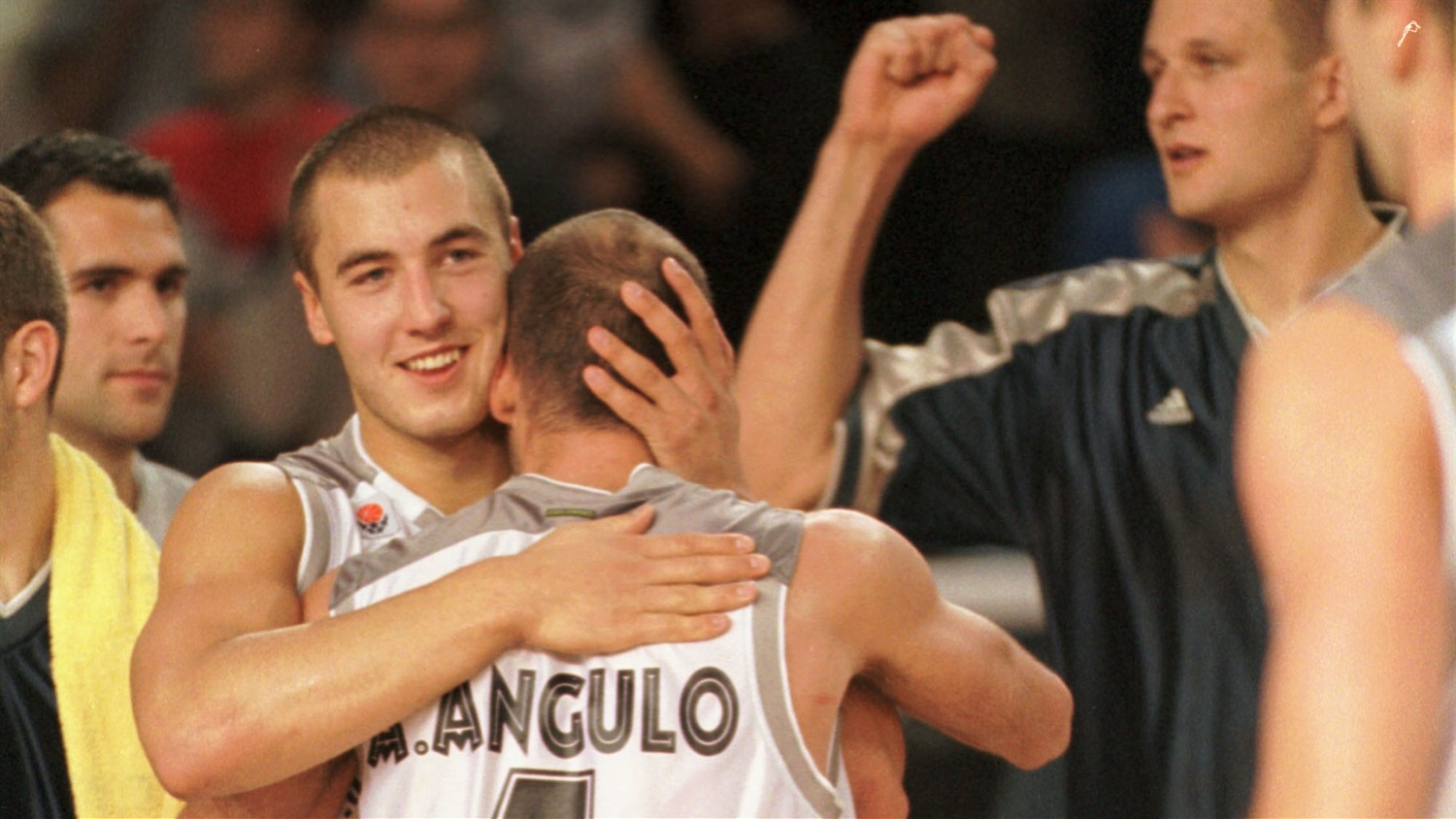 Real Madrid players celebrate first EuroLeague win